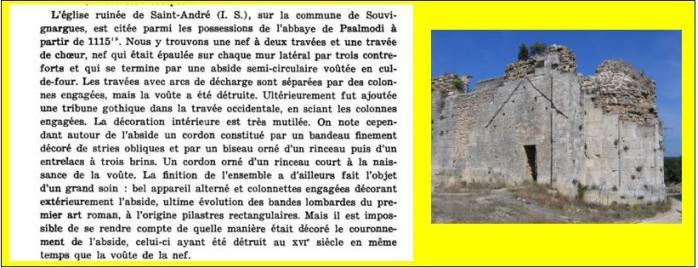 Eglise saint andre a souvignargues ruine