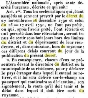 Extrait du decret du 26 aout 1792